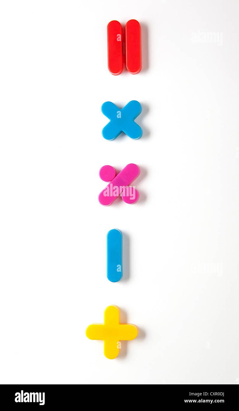 Mathematical symbol fridge magnets - Stock Image