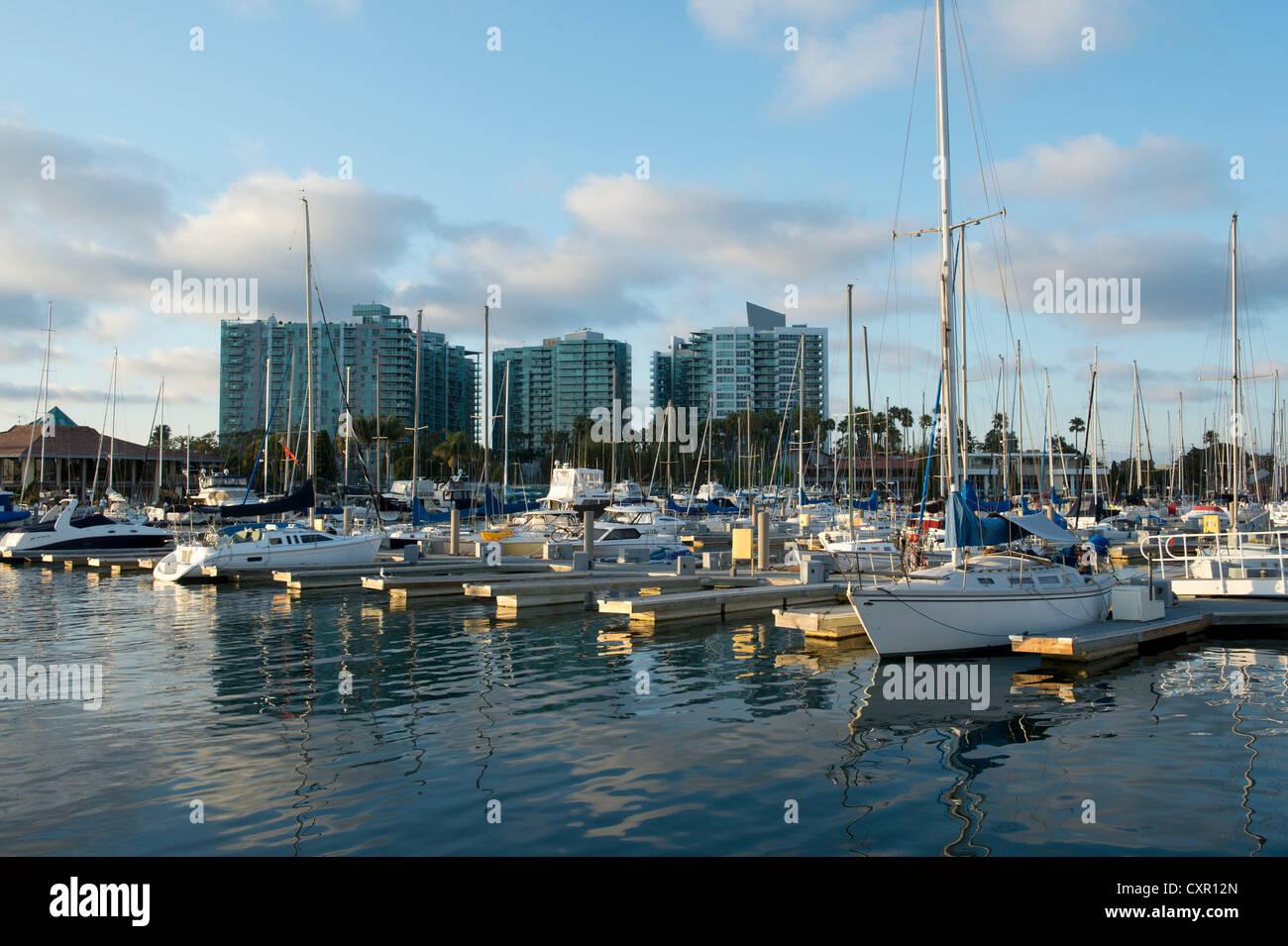Boats in marina, venice beach, california, usa - Stock Image