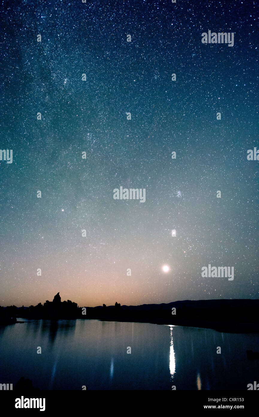 Starry sky at night, mono lake, california, usa - Stock Image