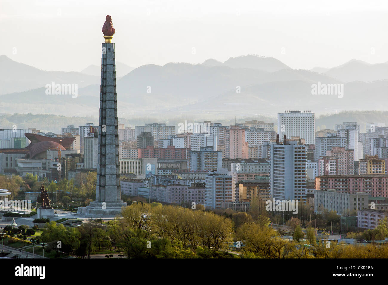 Democratic Peoples's Republic of Korea (DPRK), North Korea, Pyongyang, city skyline and the Juche Tower - Stock Image