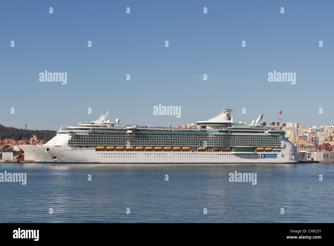 Royal Caribbean Independence of the seas, the biggest cruise ship in the world in Lisbon - Stock Image