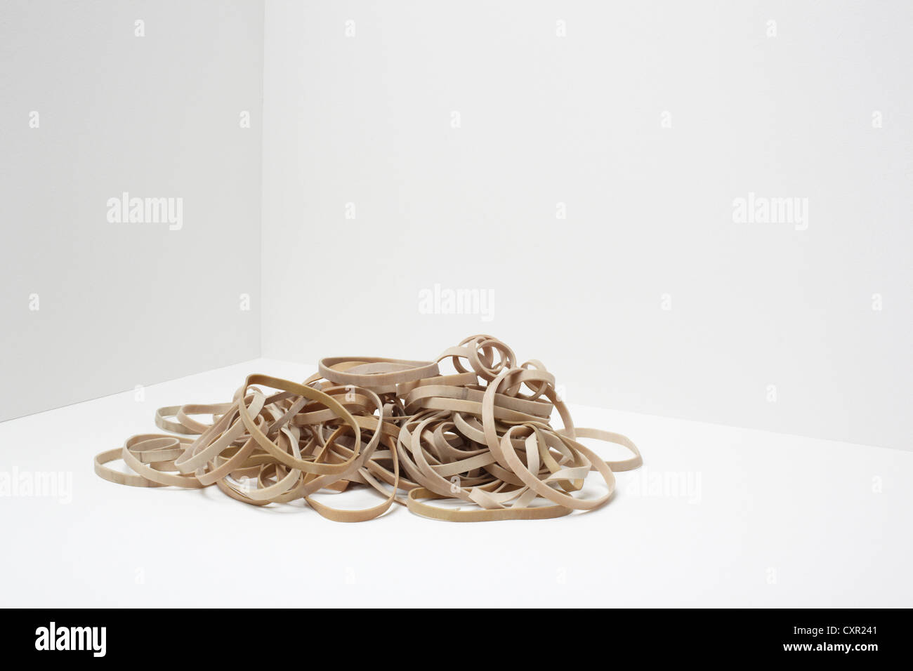 Stack of rubber bands - Stock Image