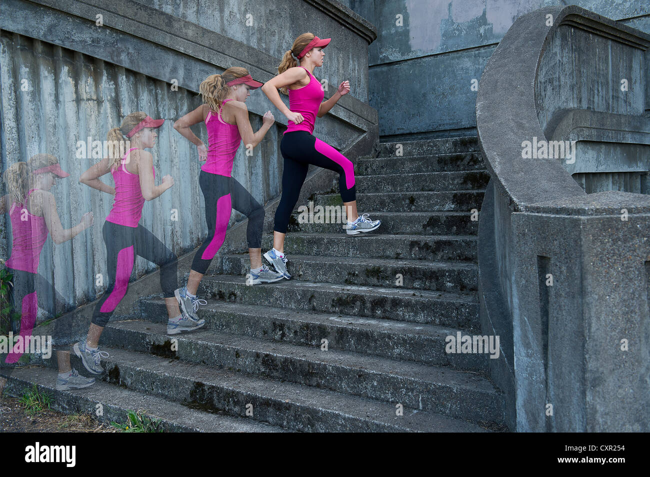 Young woman running up stairs, multiple image - Stock Image