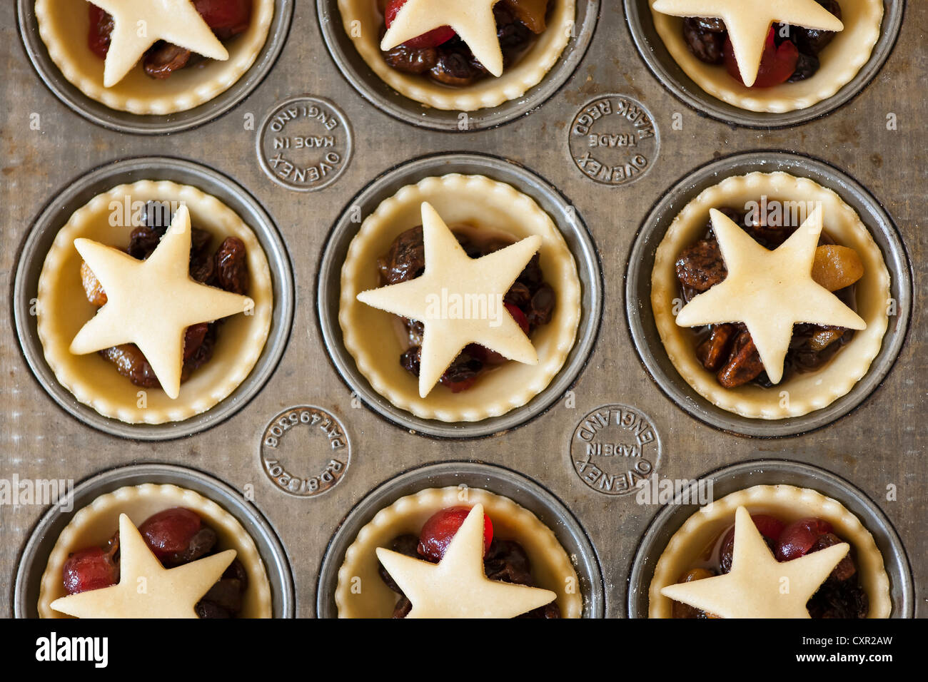 Mince Pies in a baking tray Stock Photo