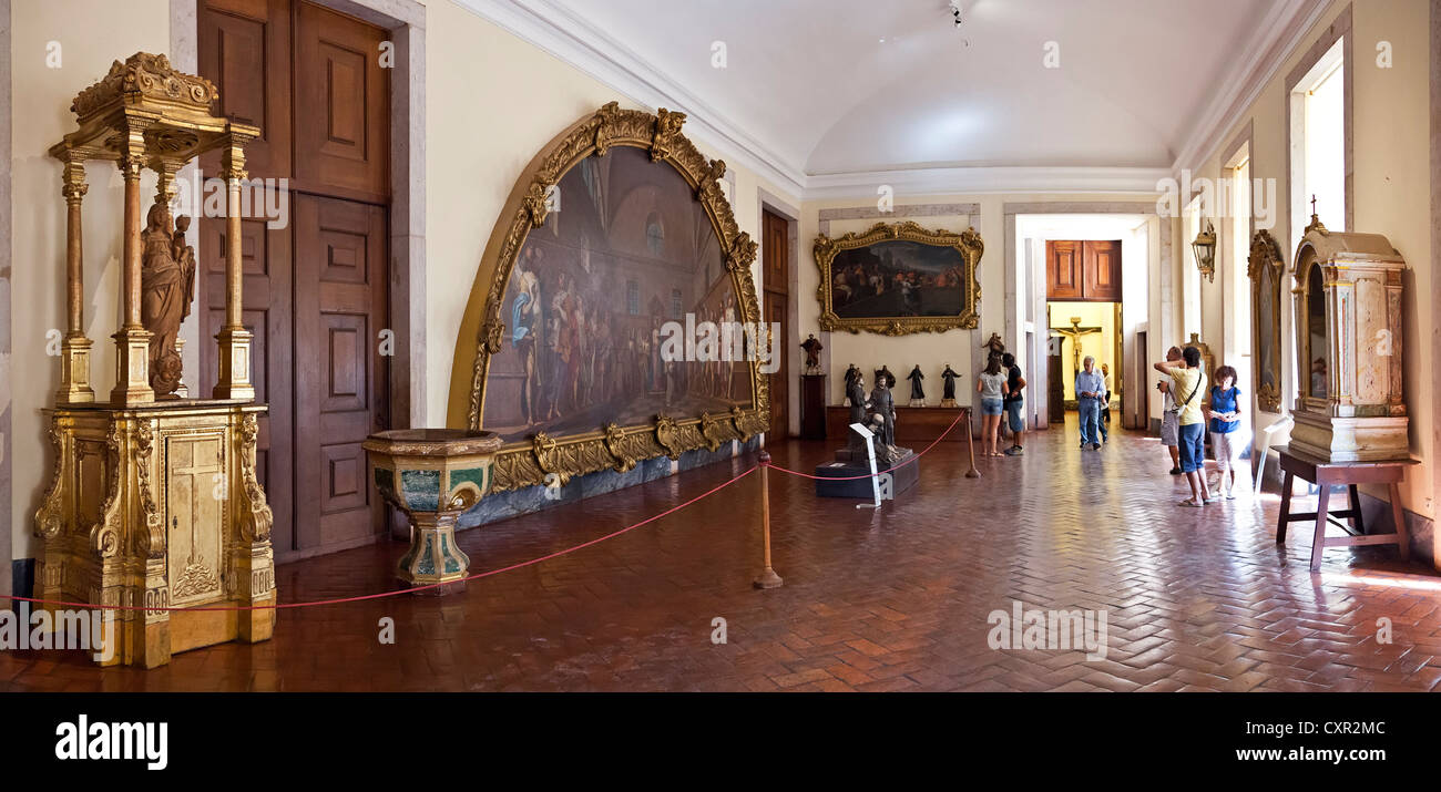 Sacred Art Nucleus of the Mafra National Palace. Portugal. Franciscan religious order. 18th Century Baroque architecture. - Stock Image