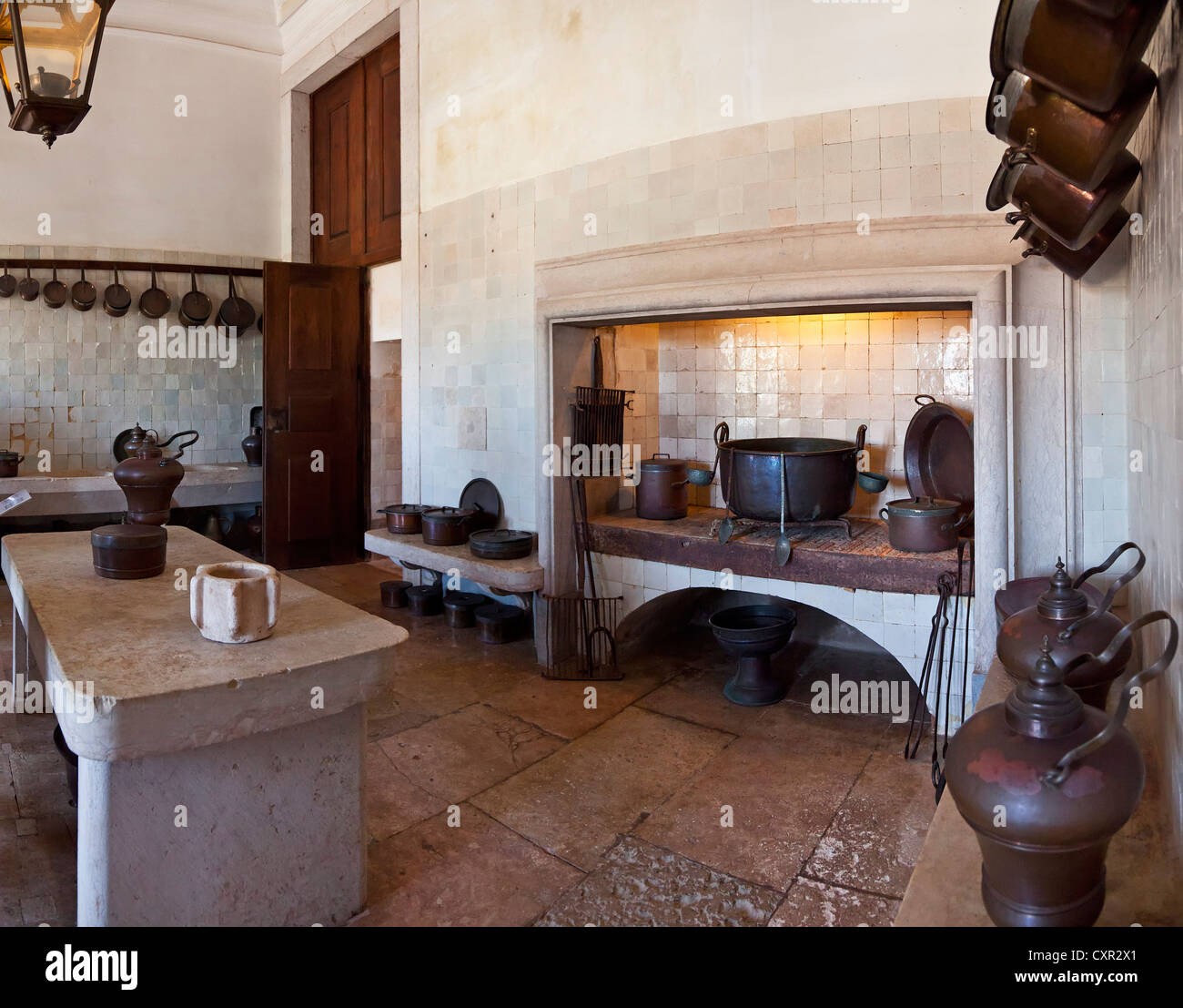 Infirmary Kitchen. Mafra National Palace, Convent and Basilica in Portugal. Franciscan Religious Order. Baroque - Stock Image