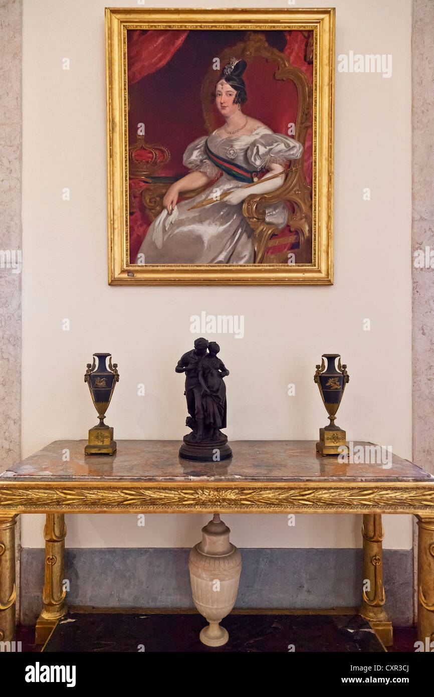Queen Dona Maria II portrait in the Kings Room. Mafra National Palace, Convent and Basilica in Portugal. Stock Photo