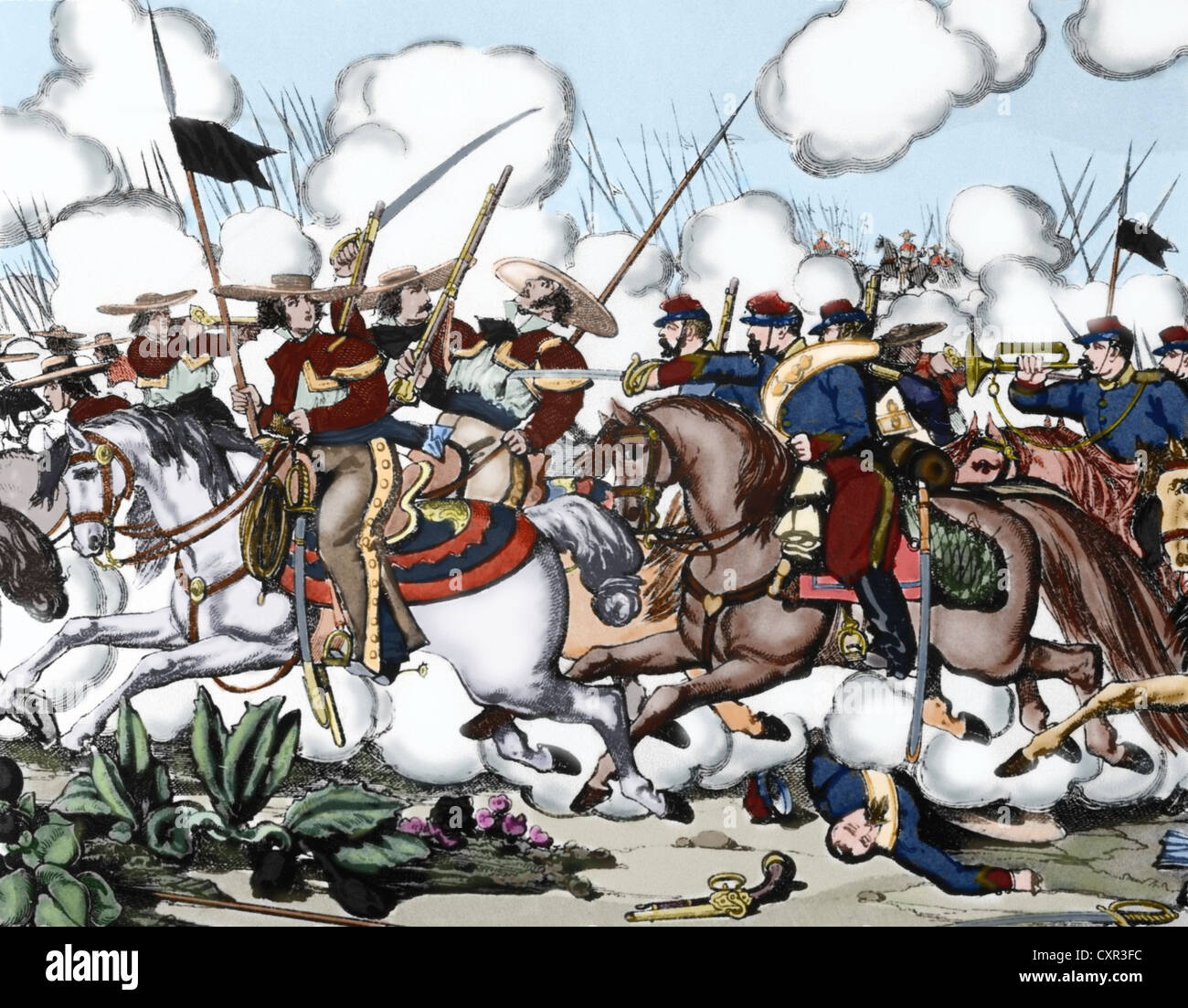 French Intervention in Mexico. Siege of Jonuta (February 21, 1863). French troops invading the territory of Tabasco. - Stock Image