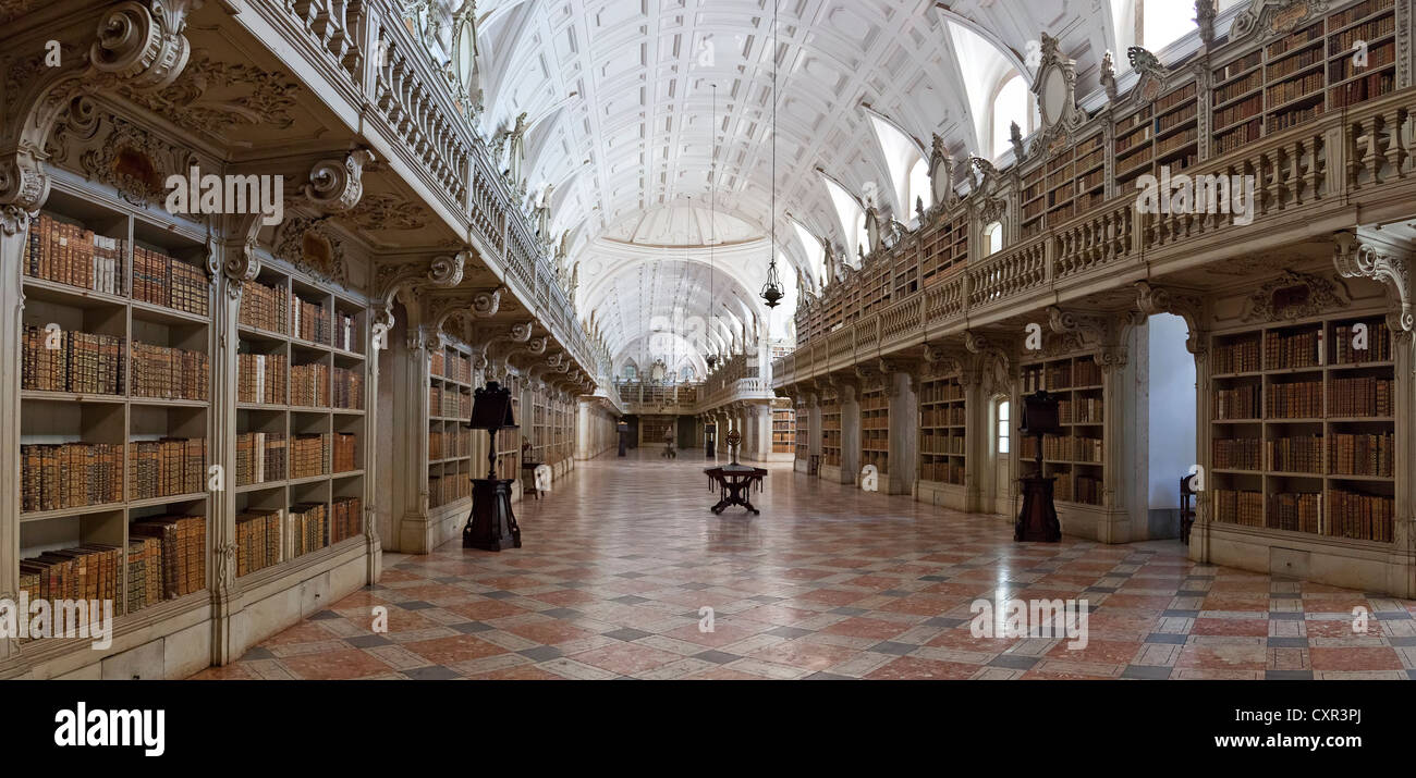 Library of the Mafra National Palace in Portugal. Franciscan religious order. 18th Century Baroque architecture. - Stock Image