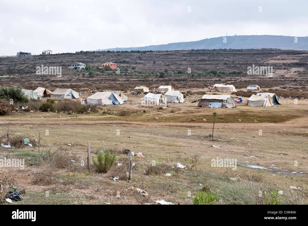A tent refugee camp for Syrian migrants in the northern Lebanese region of Wadi Khaled, just south of the Syria Stock Photo