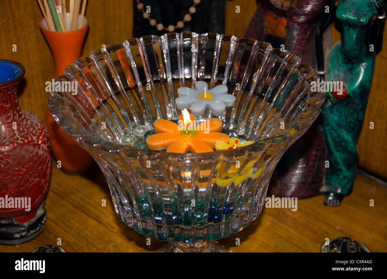 Floating Candles Of Different Colors In A Glass Bowl This Was Part