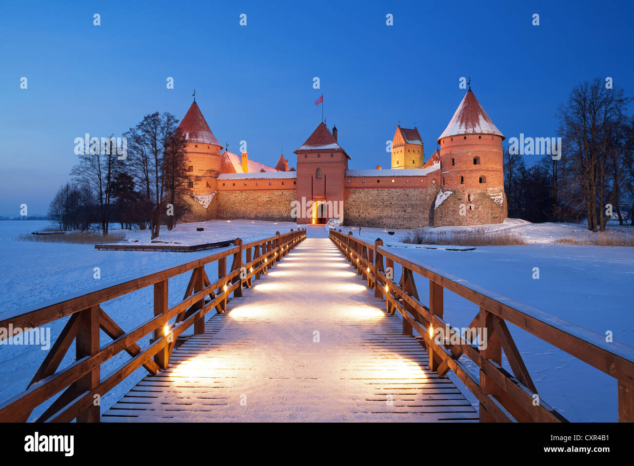 Trakai. Trakai is a historic city and lake resort in Lithuania. It lies 28 km west of Vilnius, the capital of Lithuania. - Stock Image