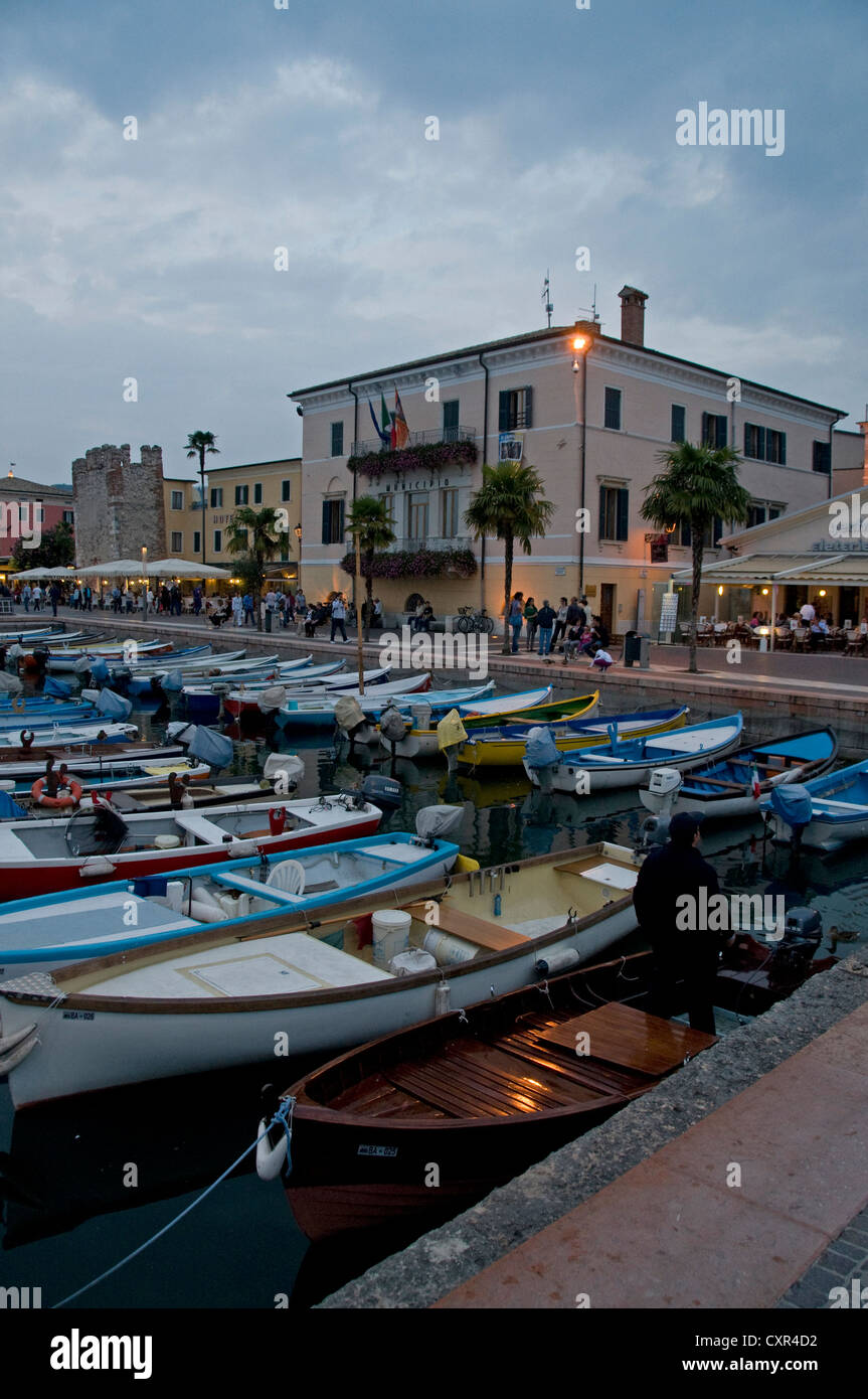 At dusk in Bardolino, Lake Garda,Veneto Region,Italy Stock Photo