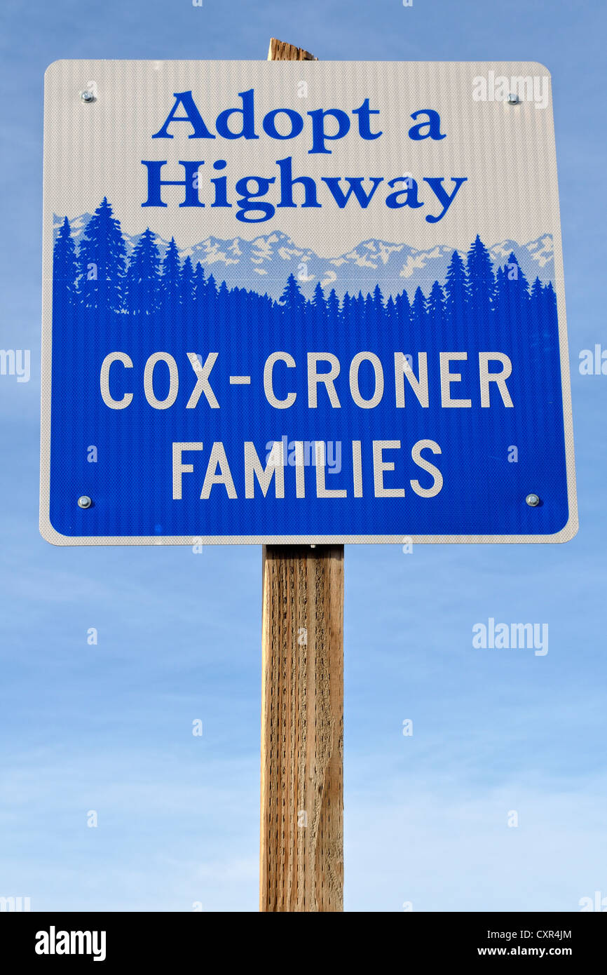 'Adopt a Highway', sponsorship sign for the section of a highway, Highway 46, Idaho, USA - Stock Image
