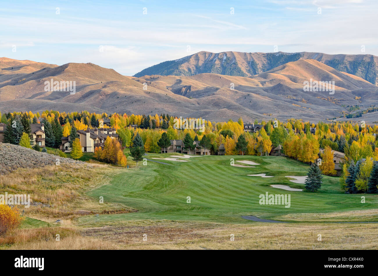 Elkhorn Village Golf Course, evening mood, Sun Valley, Idaho, USA, PublicGround - Stock Image