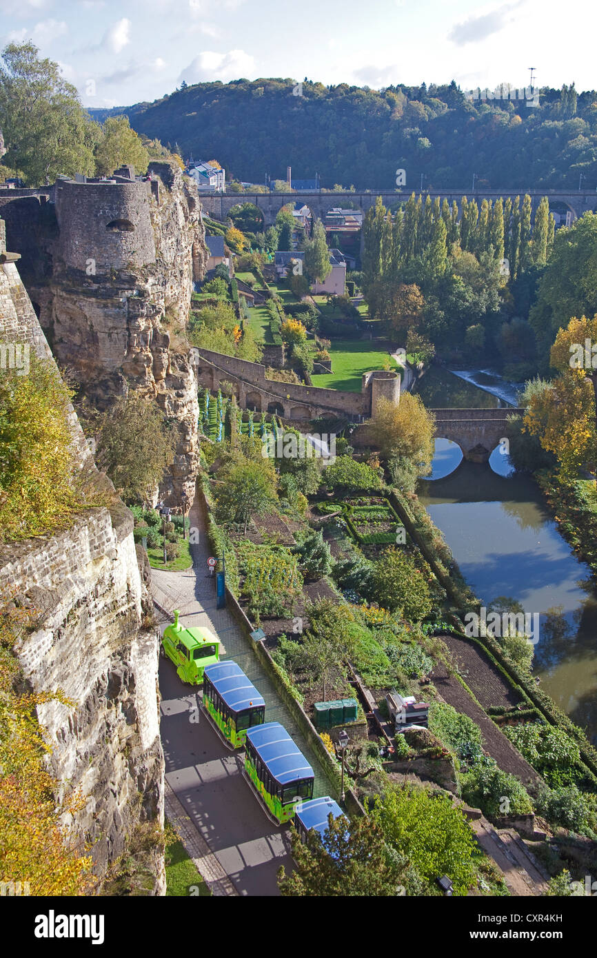 Luxembourg  A view from the Corniche with, on the left, the medieval casemates - Stock Image