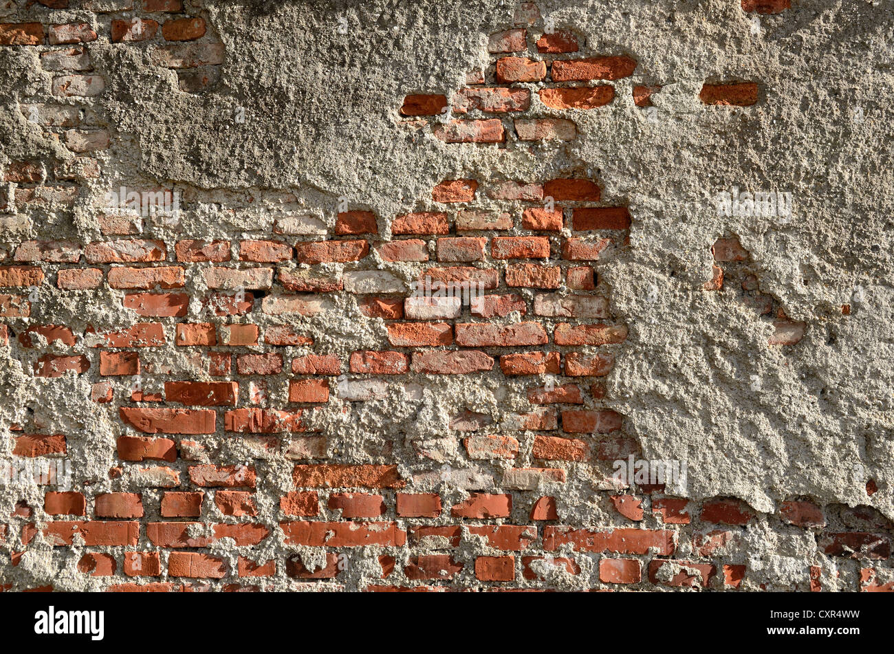 Brickwork of so-called Reichsformat or German format bricks with plaster peeling, Miesbach, Upper Bavaria, Bavaria - Stock Image