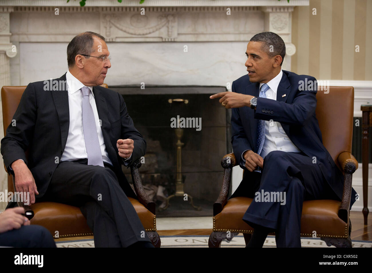 US President Barack Obama meets with Russian Foreign Minister Sergey Lavrov July 13, 2011 in the Oval Office of - Stock Image