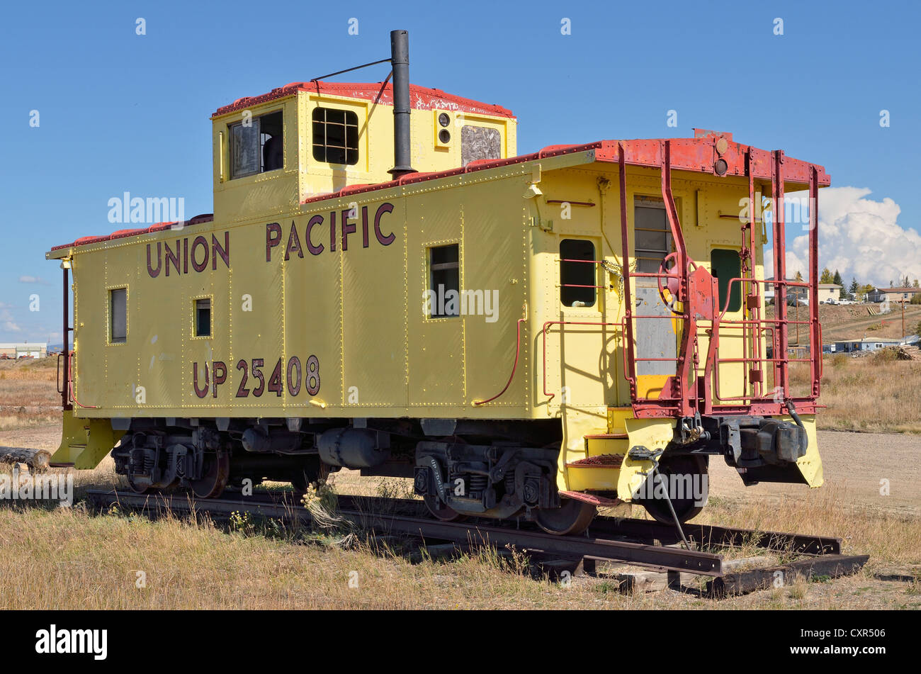Discarded Union Pacific Railway locomotive, the largest U.S. railroad freight company, Walden, State Road 125, Colorado, - Stock Image