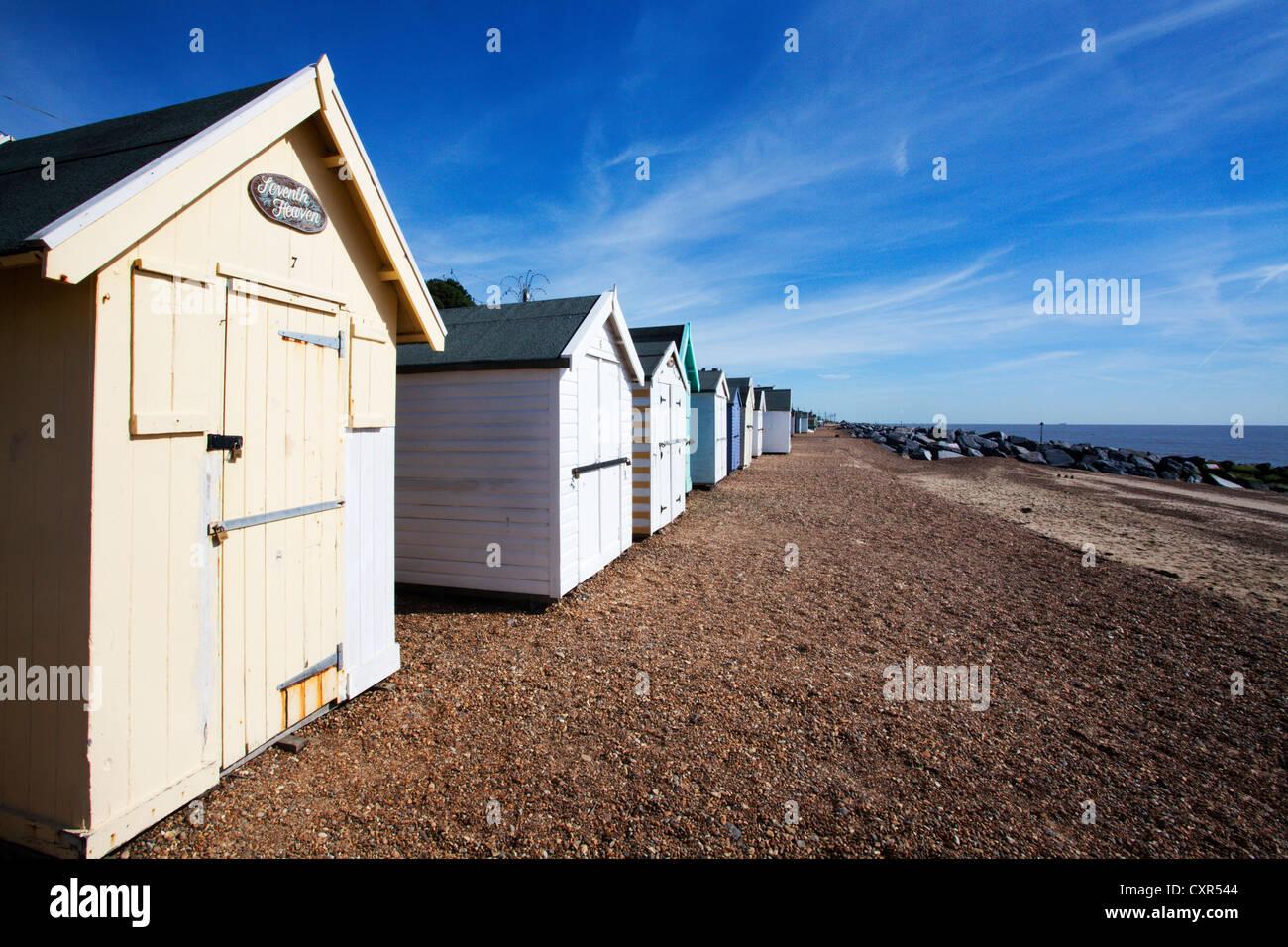 Beach Huts at Felixstowe Suffolk England - Stock Image