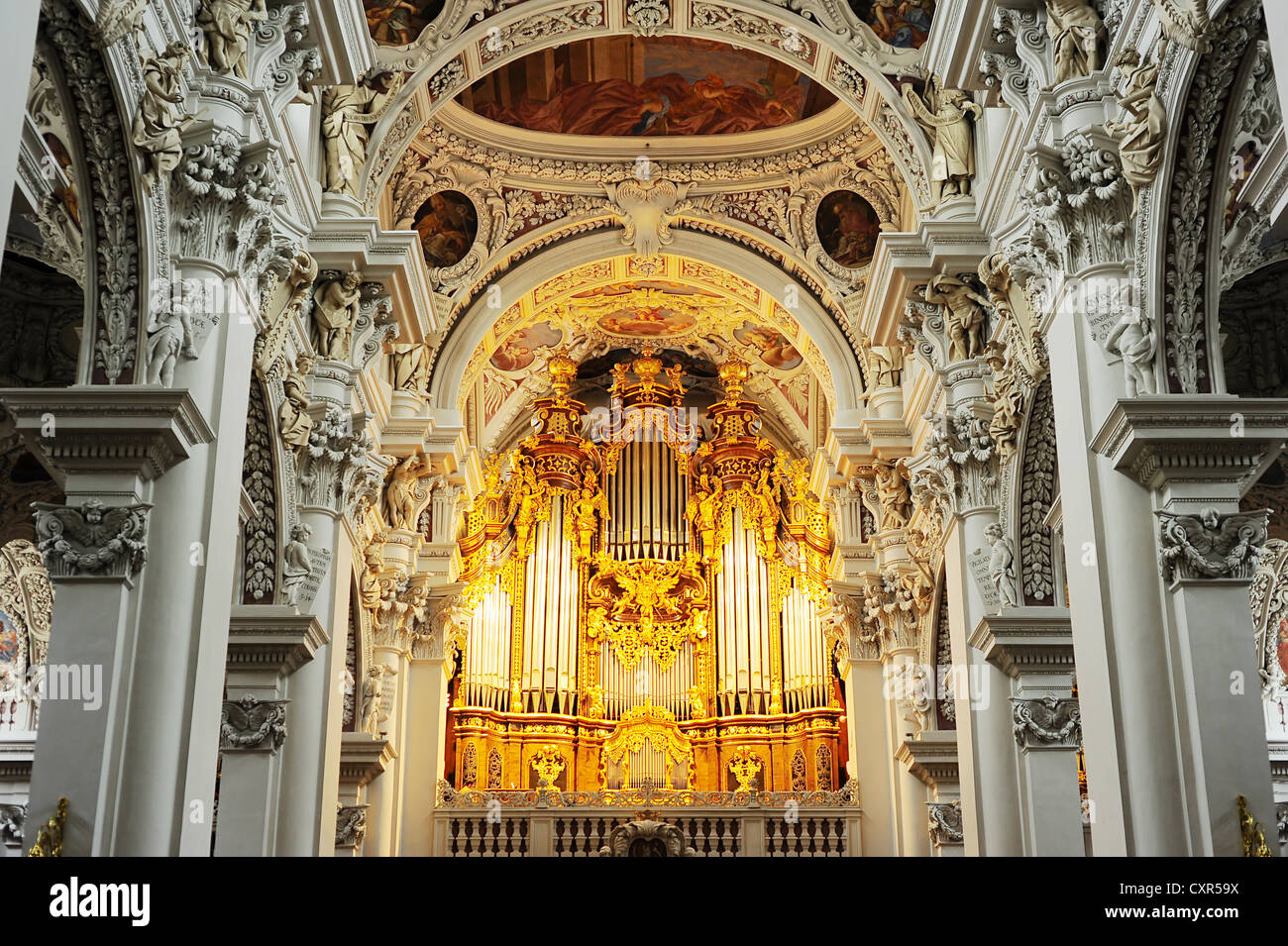 Organ at St. Stephan's Cathedral, Passau. - Stock Image