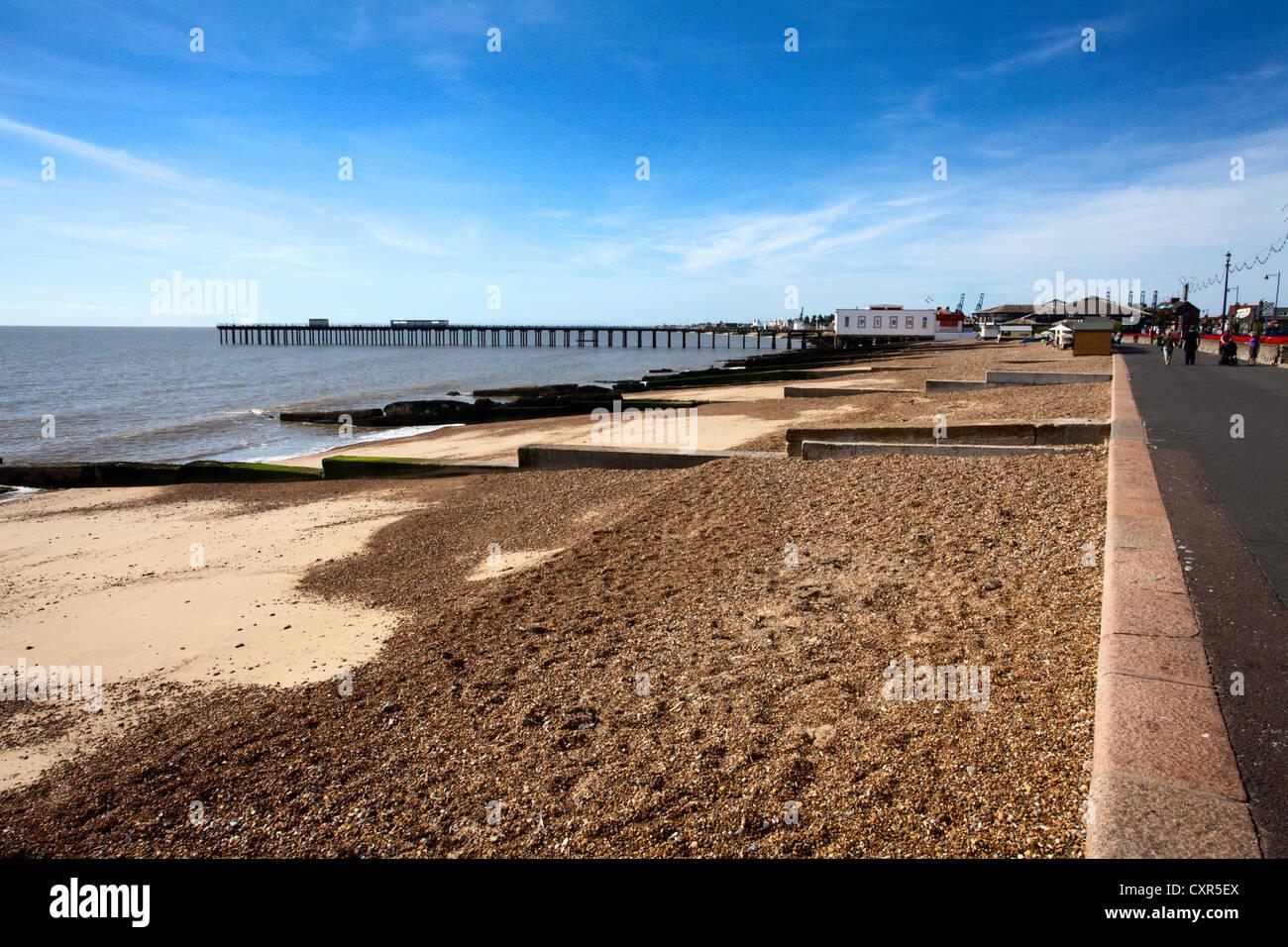 Felixstowe Beach and Pier Suffolk England - Stock Image