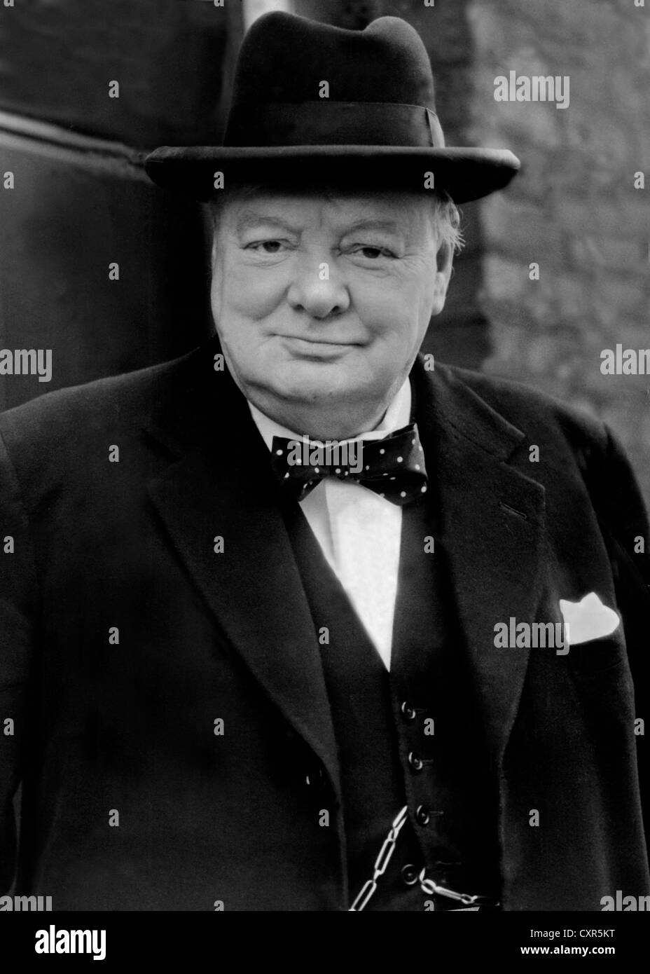Sir Winston Churchill British wartime leader. 1940's image. From the archives of Press Portrait Service (Formerly - Stock Image