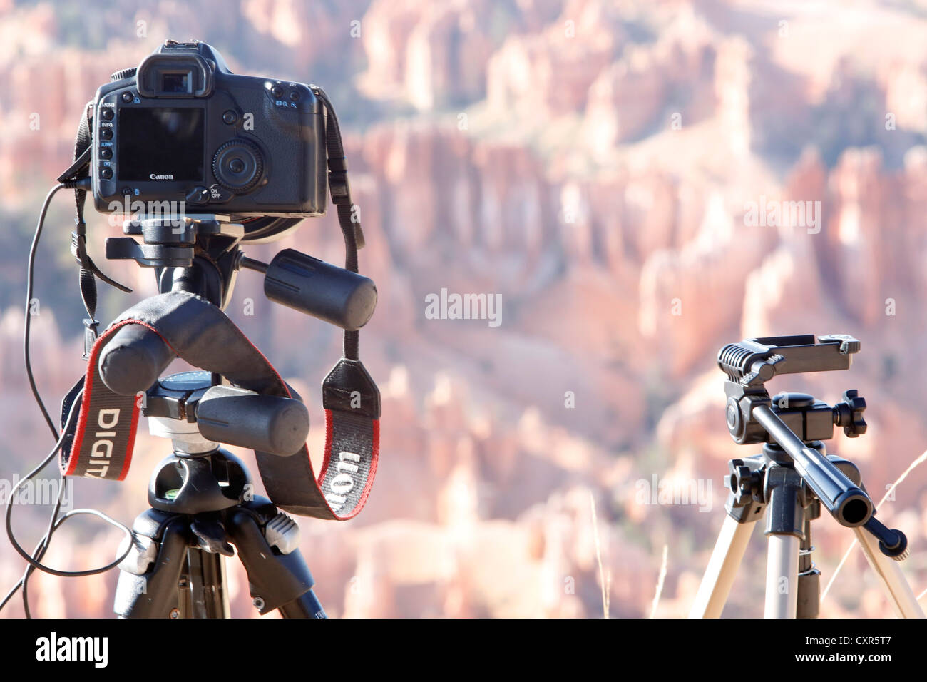 Photographer's setup in Bryce Canyon National Park, Utah, USA - Stock Image