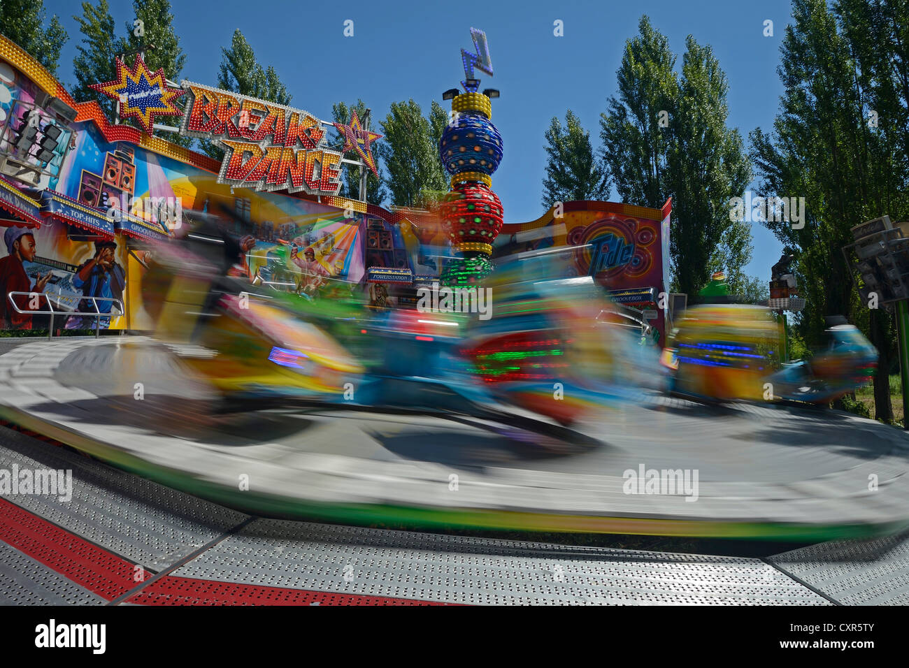 Breakdance funfair ride, funfair, motion blur, Berlin, Germany Europe - Stock Image