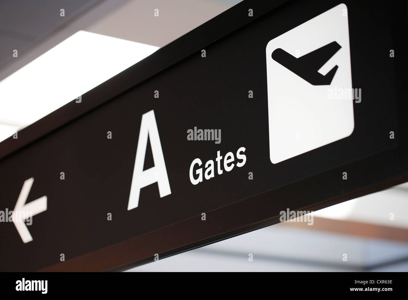 Sign, 'A Gates' at Zurich Airport or Kloten Airport, ZRH, Switzerland, Europe - Stock Image