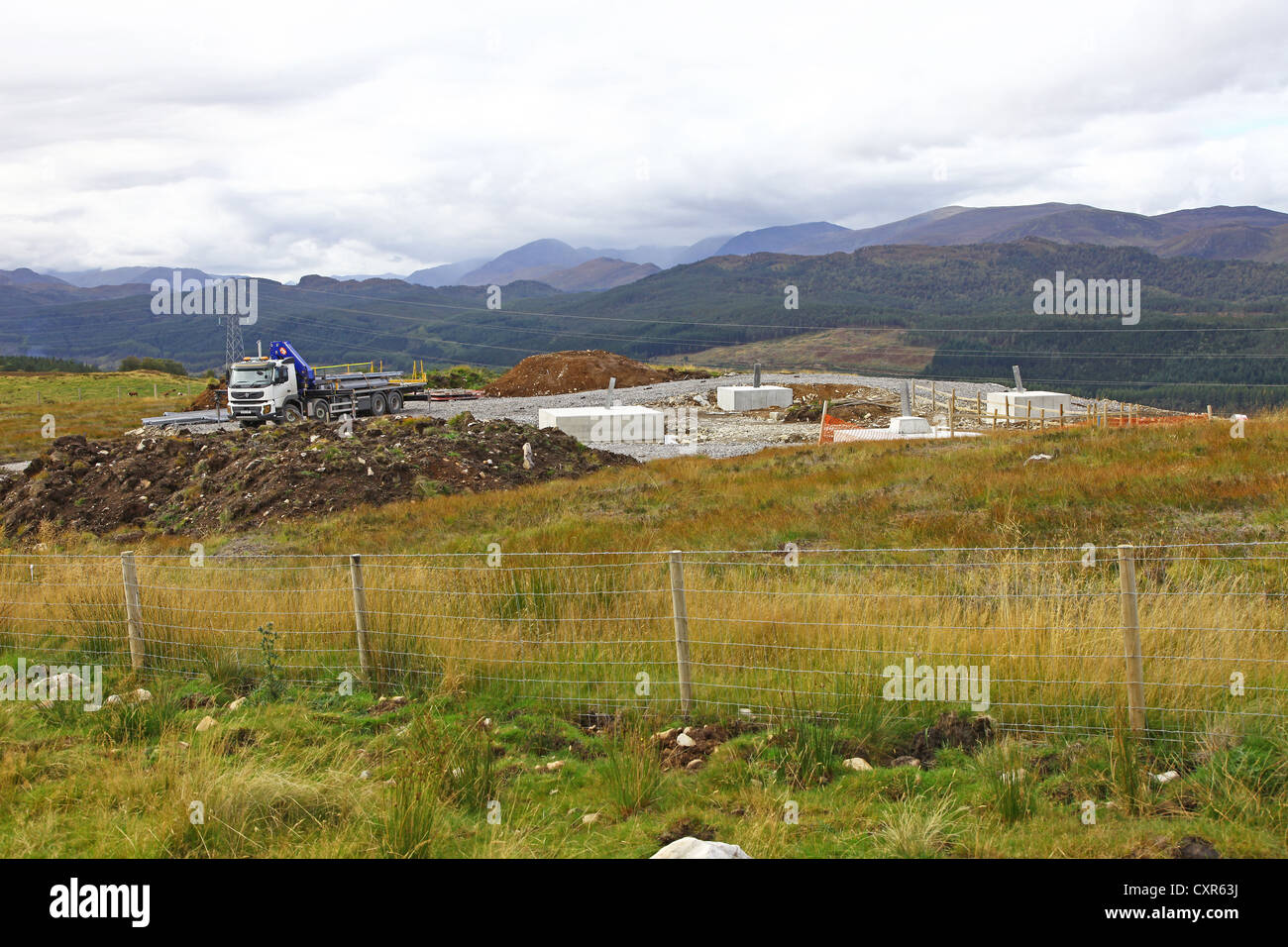 Constructing bases for electricity pylons on the controversial Beauly to Denny 137-mile power line Highlands Central - Stock Image