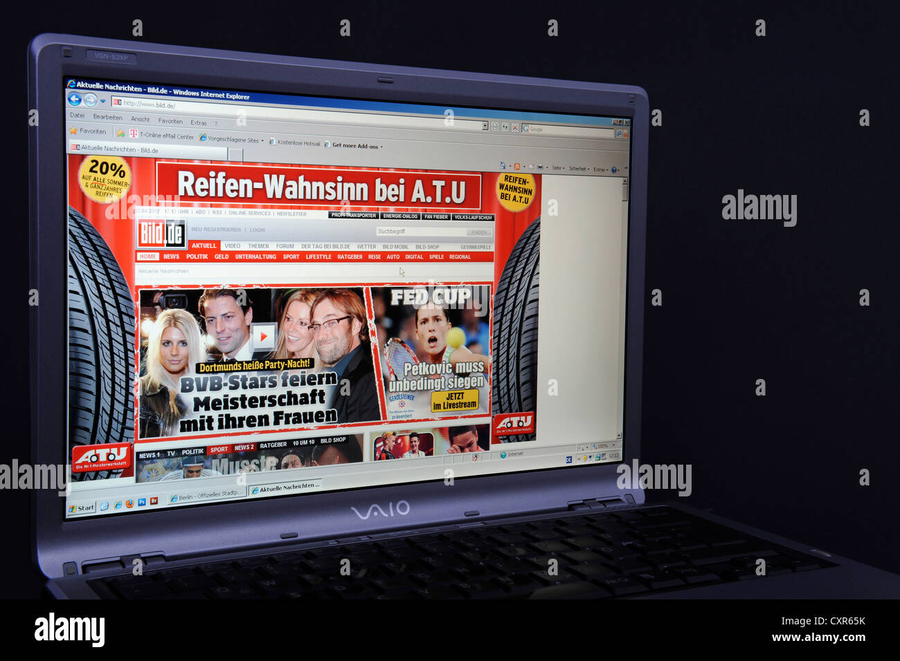 Website, Bild online webpage on the screen of a Sony Vaio laptop, a German tabloid - Stock Image