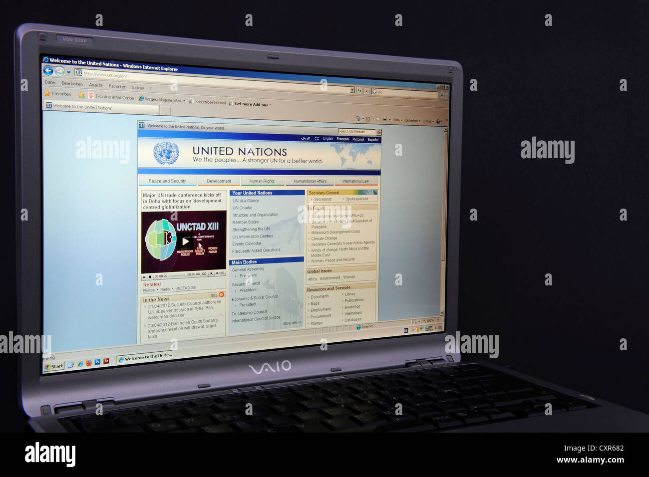 Website, webpage of the United Nations on the screen of a Sony Vaio laptop - Stock Image