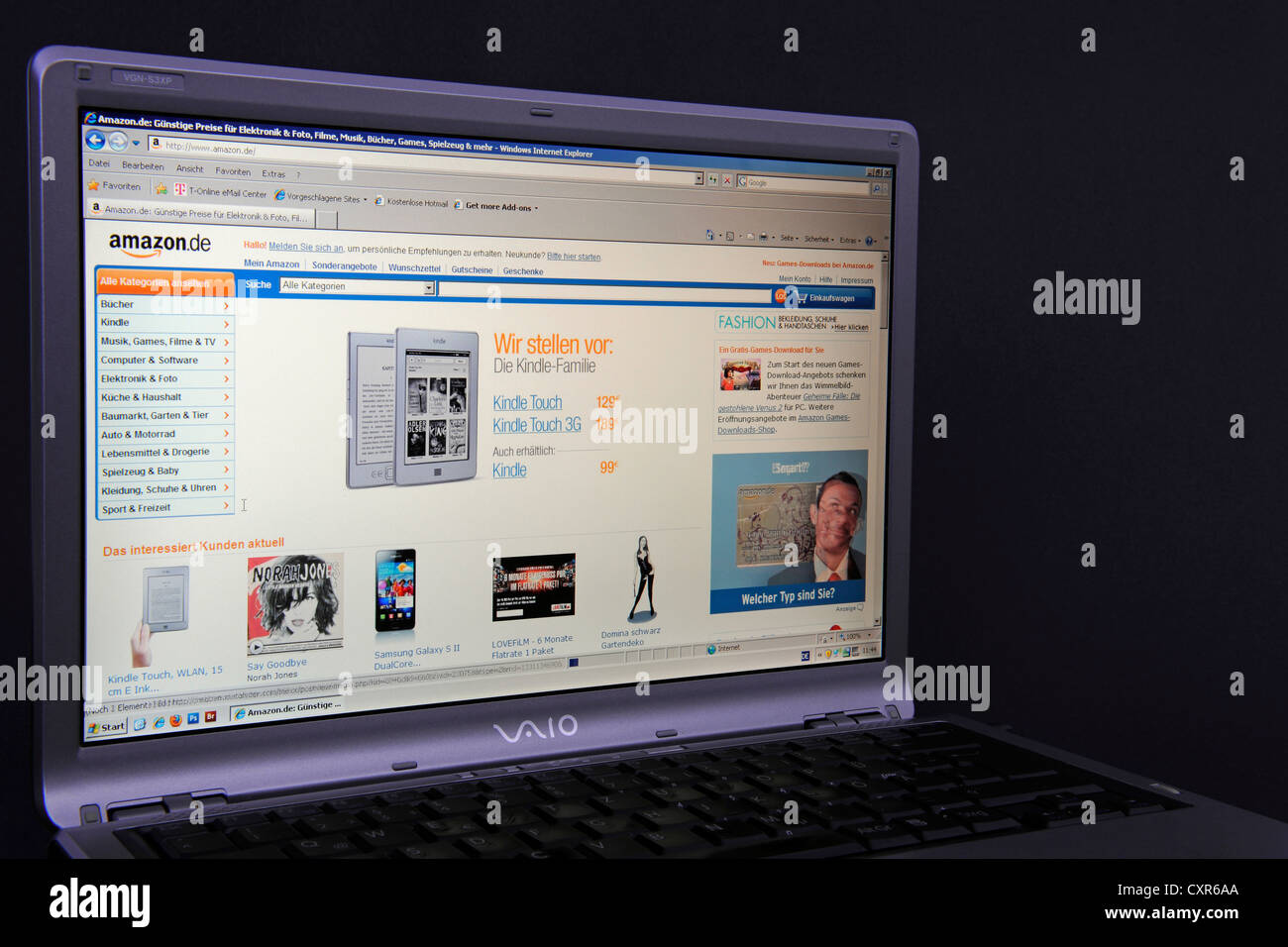 Website Amazon Webpage On The Screen Of A Sony Vaio Laptop An