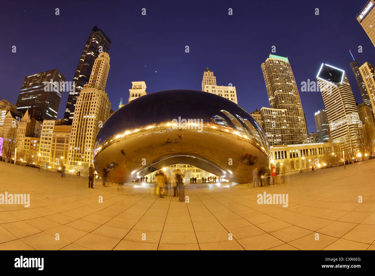 Cloud Gate in the evening, Chicago, Illinois, USA, North America - Stock Image