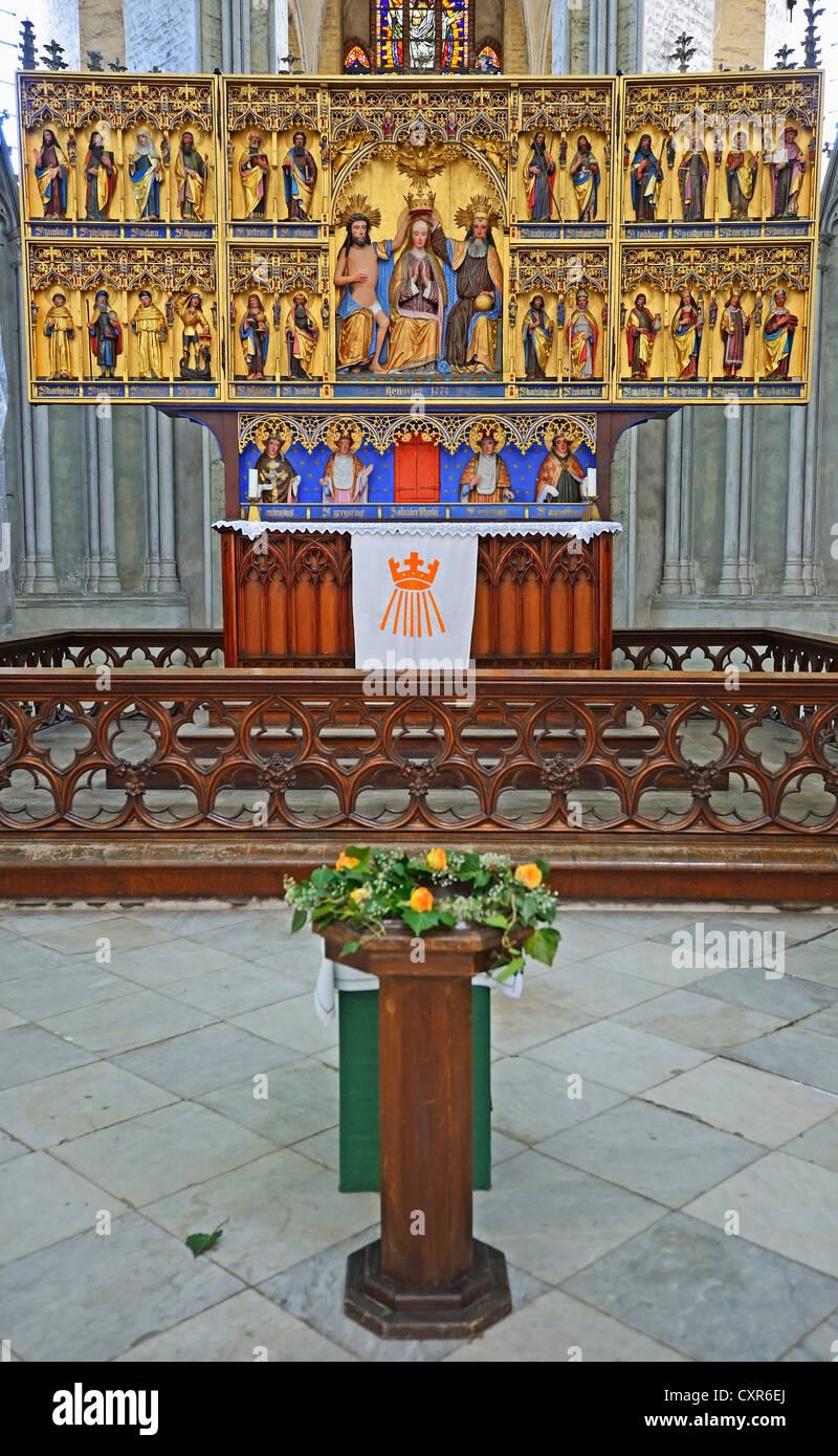 Interior view, coronation altar of Marienkirche, St. Mary's Church, Hanseatic City of Stralsund, UNESCO World Heritage Stock Photo