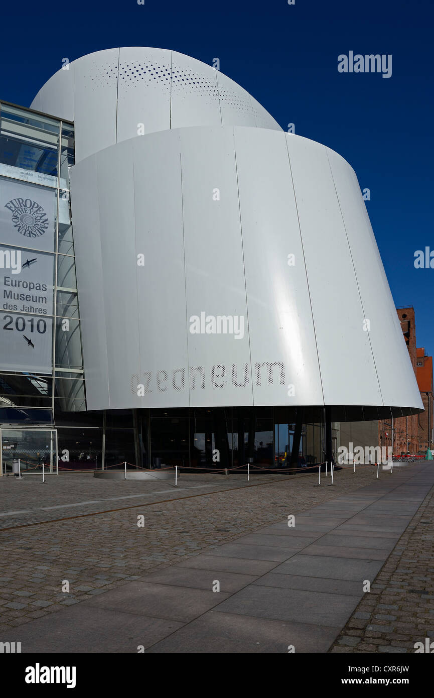 Ozeaneum museum of natural history at the old port of the Hanseatic city of Stralsund, Mecklenburg-Western Pomerania - Stock Image