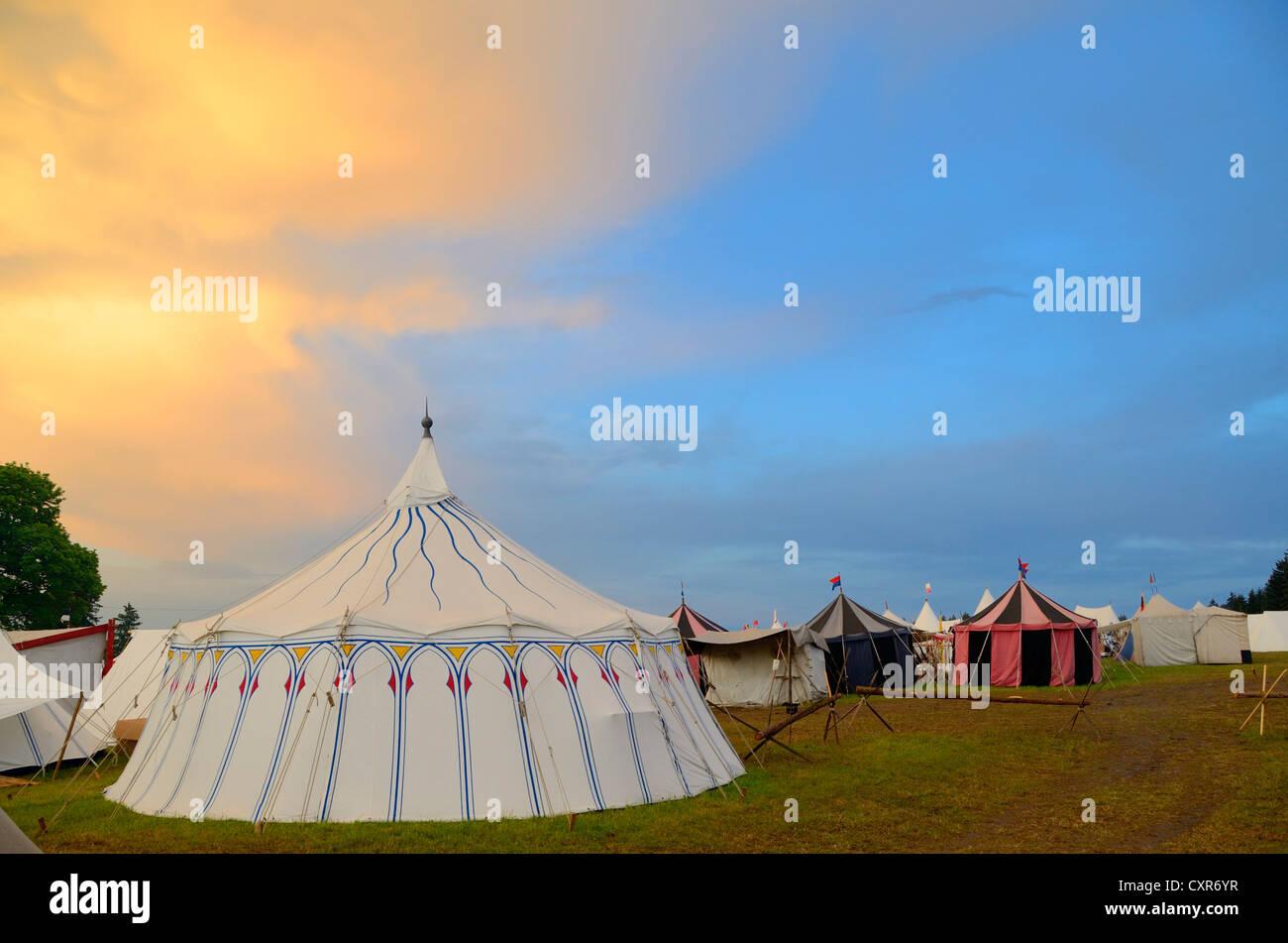 Lansquenets' camp, historical re-enactment, Landsknecht Hurra 2012, Mittelberg, Upper Allgaeu, Swabia, Bavaria, - Stock Image