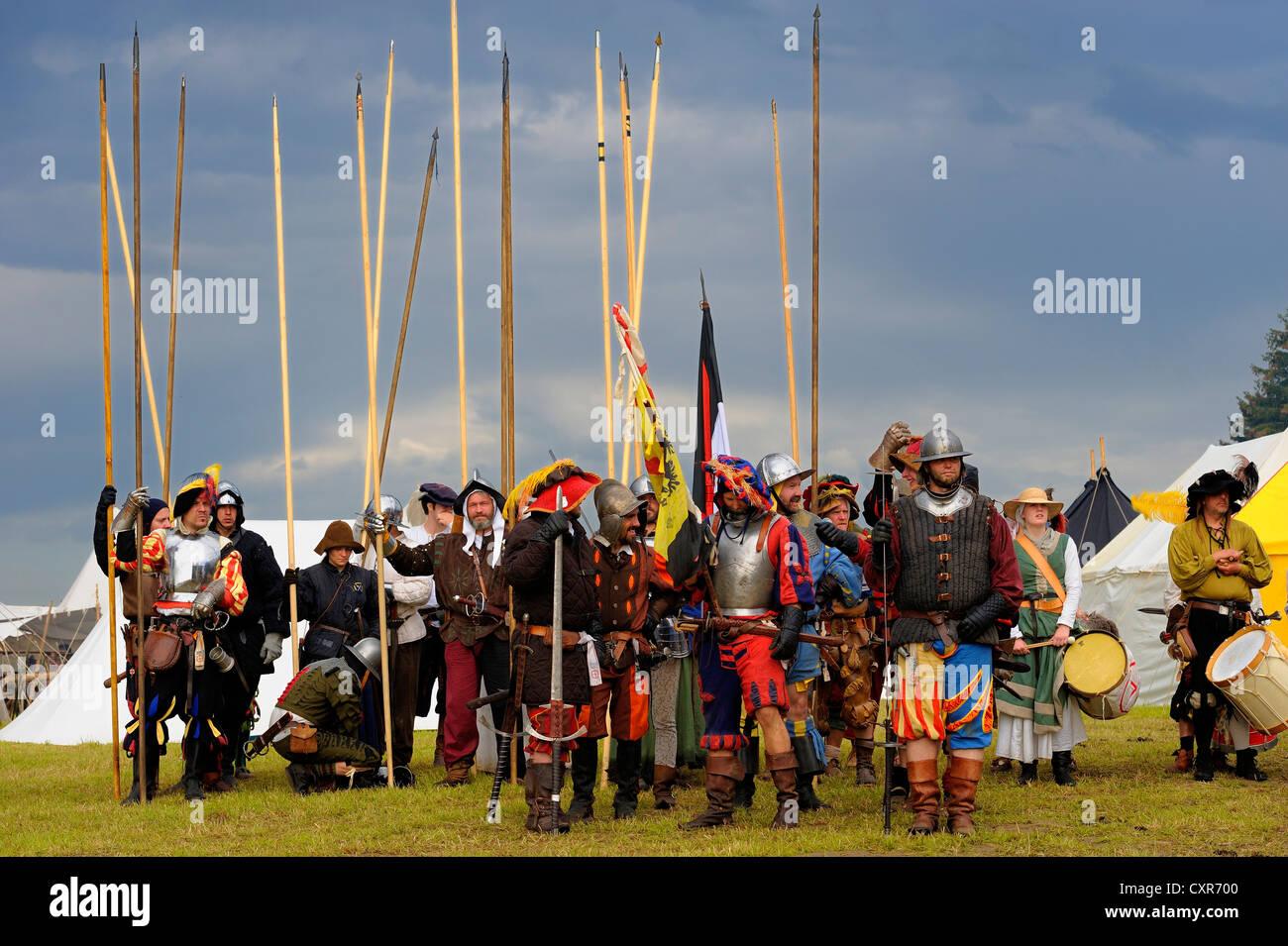 Lansquenets, foot soldiers, historical re-enactment, Landsknecht Hurra 2012, Mittelberg, Upper Allgaeu, Swabia, - Stock Image