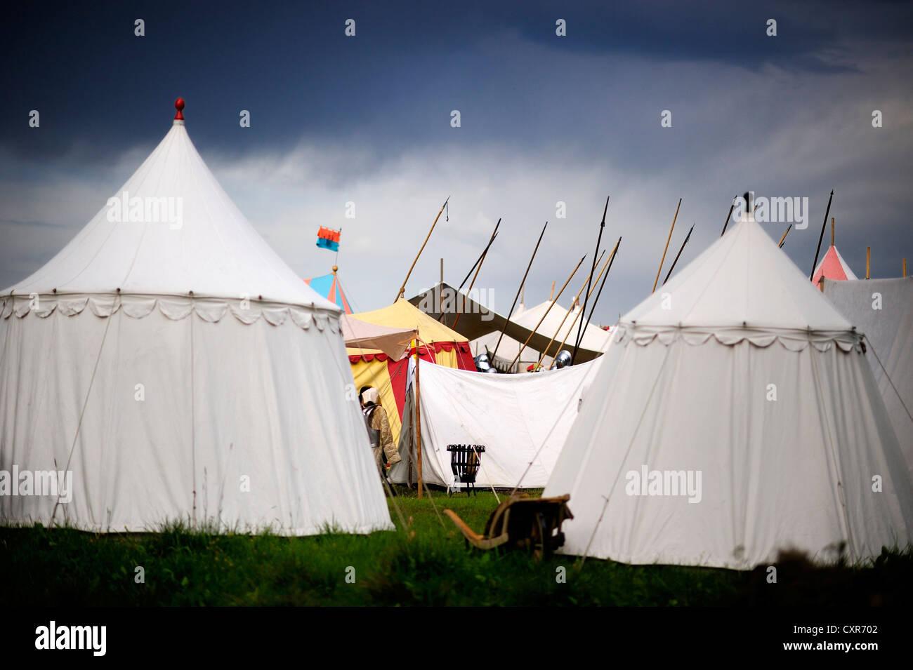 Camp, historical re-enactment, Landsknecht Hurra 2012, Mittelberg, Upper Allgaeu, Swabia, Bavaria, Germany, Europe - Stock Image