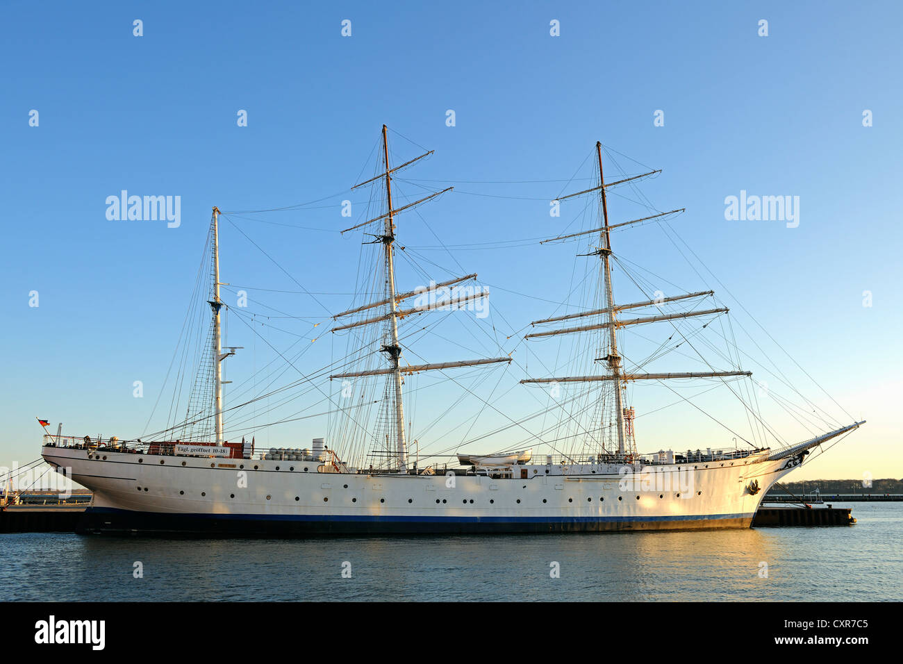 Tall ship Gorch Fock I in the morning light, old port of Stralsund, Mecklenburg-Western Pomerania, Germany, Europe, - Stock Image