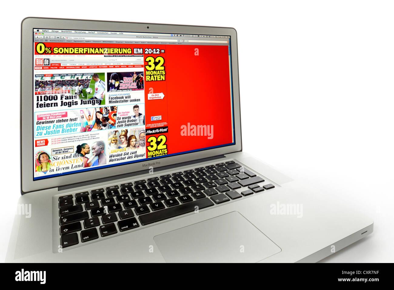 Bild, newspaper website displayed on the screen of an Apple MacBook Pro - Stock Image