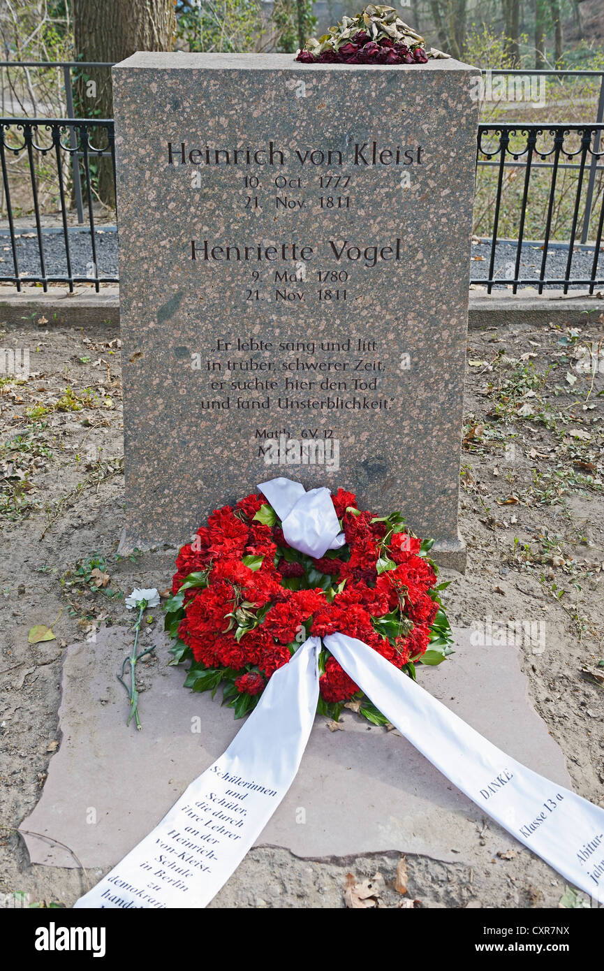 Grave of Heinrich von Kleist and Henriette Vogel at the site of their suicide, Berlin Wannsee, Germany, Europe - Stock Image
