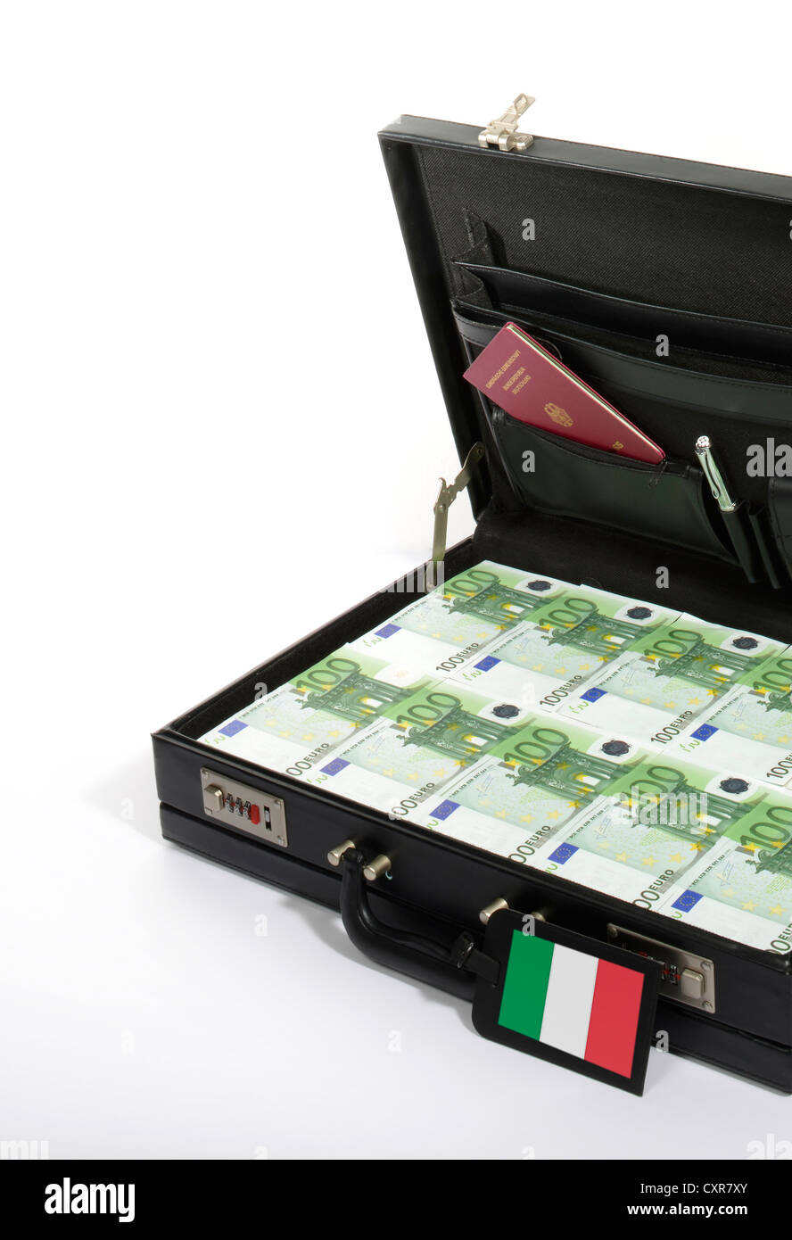 Symbolic image for European countries at risk, 100-euro banknotes in a briefcase, suitcase of money, luggage tag Stock Photo