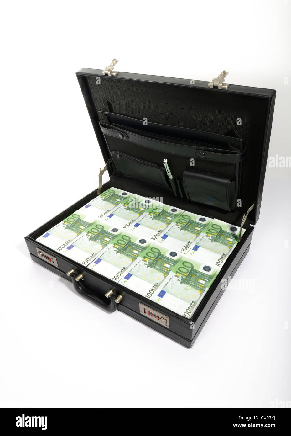 100-euro banknotes in a briefcase, suitcase of money - Stock Image
