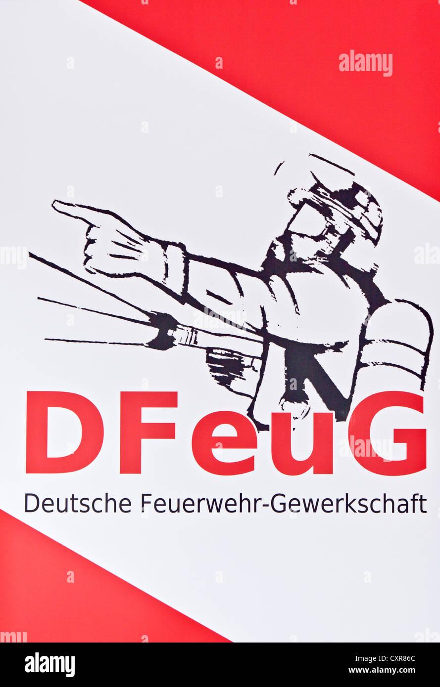Banner, DFeuG, Deutsche Feuerwehr-Gewerkschaft, German firefighters' union - Stock Image