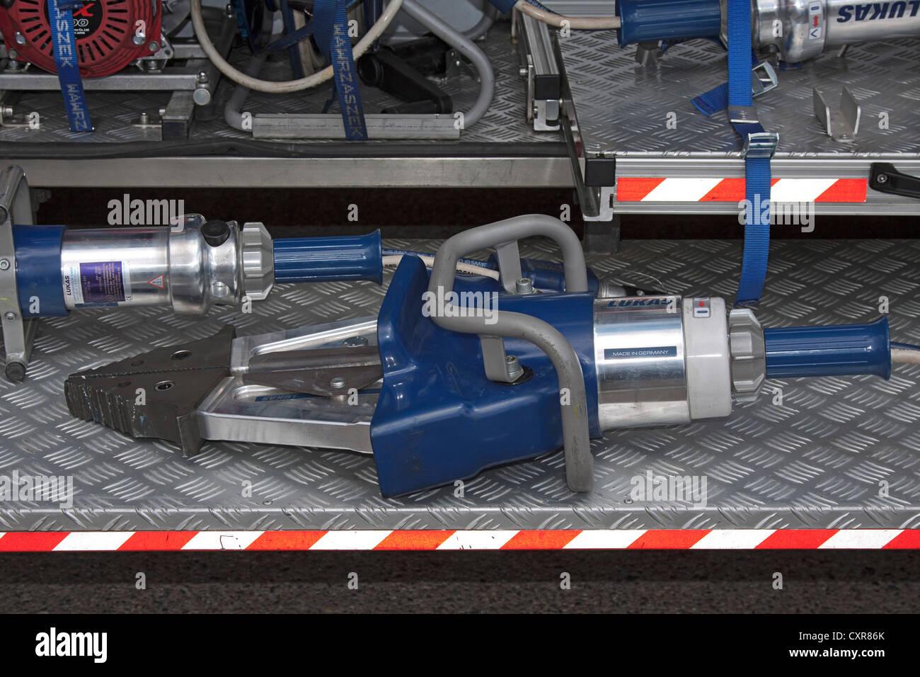Spreader, rescue spreader, shears, hydraulic, tools, fire brigade - Stock Image