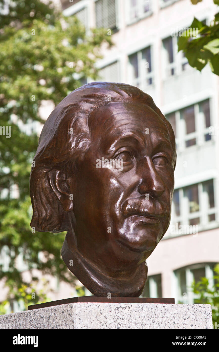 Bust of Albert Einstein at 'Strasse der Erinnerung', road of remembrance, Berlin, Germany, Europe - Stock Image