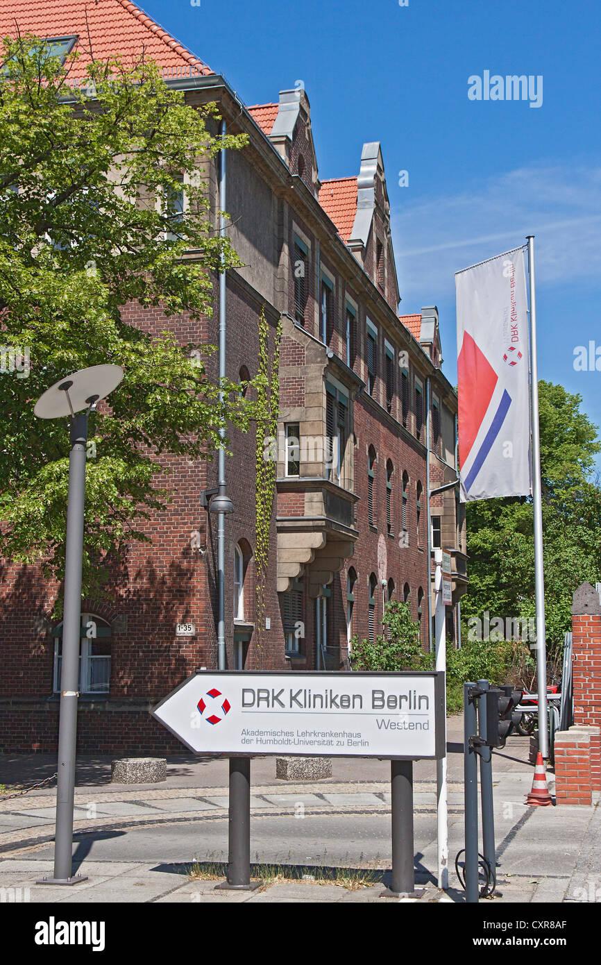 Entrance to DRK-Kliniken Berlin Westend, academic teaching hospital, Berlin, Germany, Europe - Stock Image