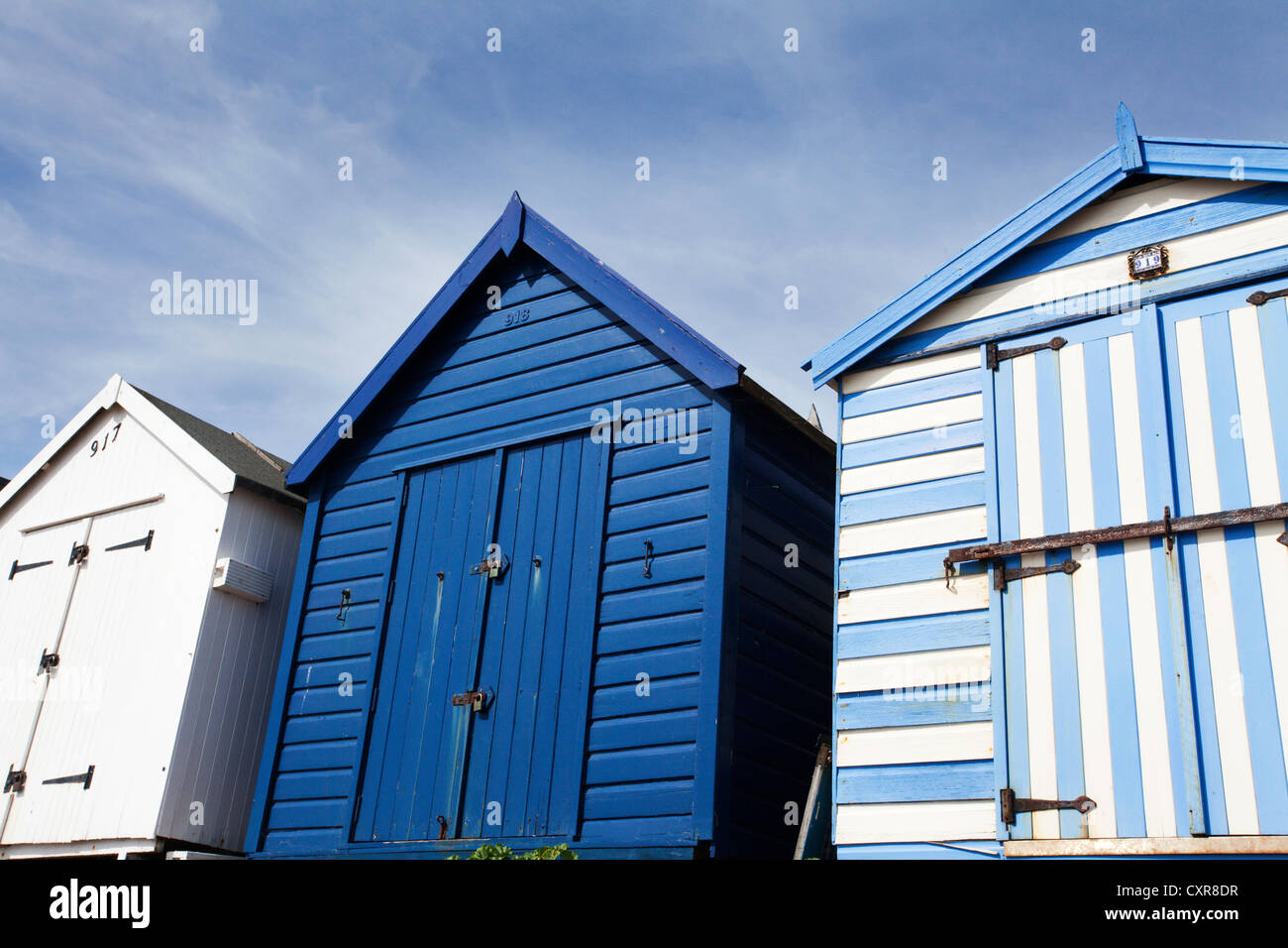 Blue and White Beach Huts at Felixstowe Suffolk England - Stock Image